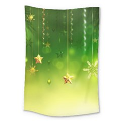 Christmas Green Background Stars Snowflakes Decorative Ornaments Pictures Large Tapestry