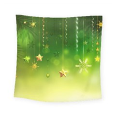 Christmas Green Background Stars Snowflakes Decorative Ornaments Pictures Square Tapestry (Small)