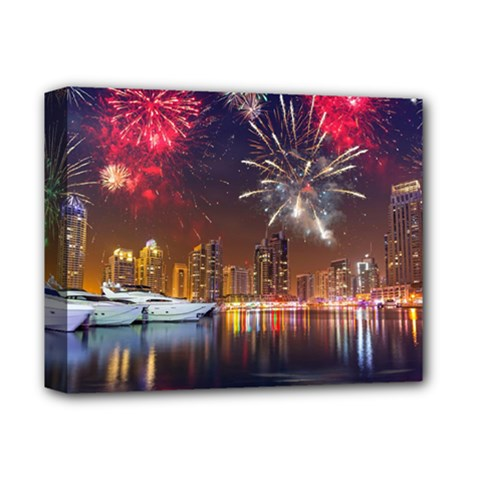 Christmas Night In Dubai Holidays City Skyscrapers At Night The Sky Fireworks Uae Deluxe Canvas 14  X 11