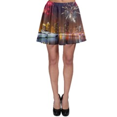 Christmas Night In Dubai Holidays City Skyscrapers At Night The Sky Fireworks Uae Skater Skirt