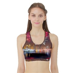 Christmas Night In Dubai Holidays City Skyscrapers At Night The Sky Fireworks Uae Sports Bra With Border