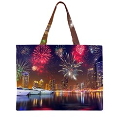 Christmas Night In Dubai Holidays City Skyscrapers At Night The Sky Fireworks Uae Large Tote Bag