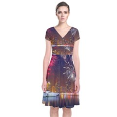 Christmas Night In Dubai Holidays City Skyscrapers At Night The Sky Fireworks Uae Short Sleeve Front Wrap Dress