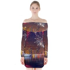 Christmas Night In Dubai Holidays City Skyscrapers At Night The Sky Fireworks Uae Long Sleeve Off Shoulder Dress
