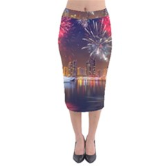 Christmas Night In Dubai Holidays City Skyscrapers At Night The Sky Fireworks Uae Velvet Midi Pencil Skirt