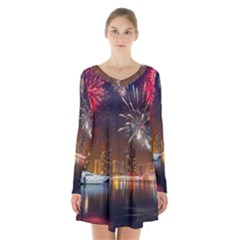 Christmas Night In Dubai Holidays City Skyscrapers At Night The Sky Fireworks Uae Long Sleeve Velvet V Neck Dress