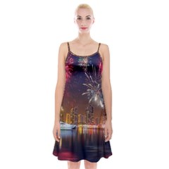 Christmas Night In Dubai Holidays City Skyscrapers At Night The Sky Fireworks Uae Spaghetti Strap Velvet Dress