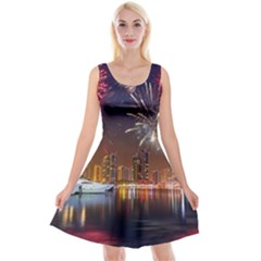 Christmas Night In Dubai Holidays City Skyscrapers At Night The Sky Fireworks Uae Reversible Velvet Sleeveless Dress