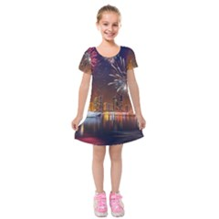 Christmas Night In Dubai Holidays City Skyscrapers At Night The Sky Fireworks Uae Kids  Short Sleeve Velvet Dress