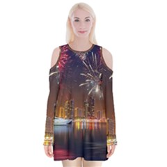 Christmas Night In Dubai Holidays City Skyscrapers At Night The Sky Fireworks Uae Velvet Long Sleeve Shoulder Cutout Dress