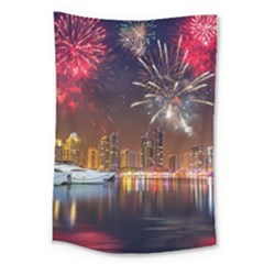 Christmas Night In Dubai Holidays City Skyscrapers At Night The Sky Fireworks Uae Large Tapestry