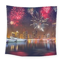 Christmas Night In Dubai Holidays City Skyscrapers At Night The Sky Fireworks Uae Square Tapestry (Large)