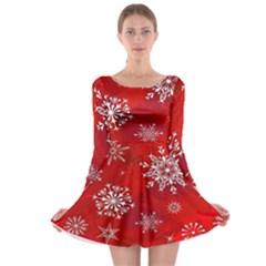 Christmas Pattern Long Sleeve Skater Dress