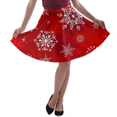 Christmas Pattern A Line Skater Skirt
