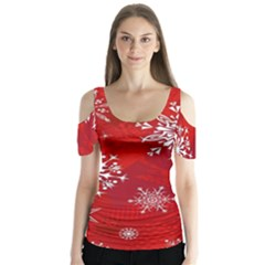 Christmas Pattern Butterfly Sleeve Cutout Tee