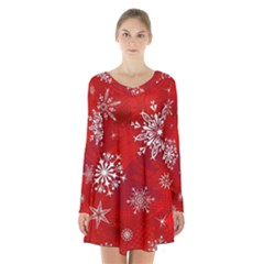 Christmas Pattern Long Sleeve Velvet V Neck Dress