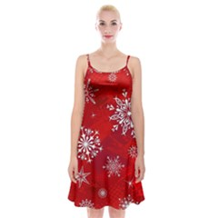 Christmas Pattern Spaghetti Strap Velvet Dress