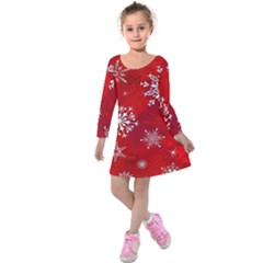 Christmas Pattern Kids  Long Sleeve Velvet Dress