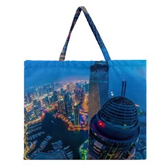 City Dubai Photograph From The Top Of Skyscrapers United Arab Emirates Zipper Large Tote Bag