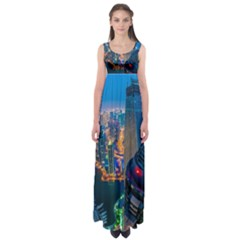 City Dubai Photograph From The Top Of Skyscrapers United Arab Emirates Empire Waist Maxi Dress