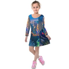 City Dubai Photograph From The Top Of Skyscrapers United Arab Emirates Kids  Long Sleeve Velvet Dress