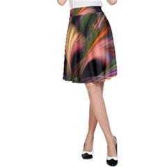 Color Burst Abstract A Line Skirt