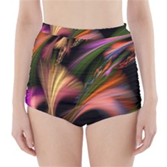 Color Burst Abstract High-Waisted Bikini Bottoms