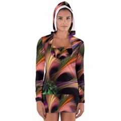 Color Burst Abstract Women s Long Sleeve Hooded T Shirt