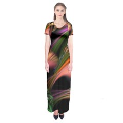 Color Burst Abstract Short Sleeve Maxi Dress