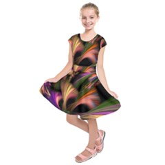 Color Burst Abstract Kids  Short Sleeve Dress