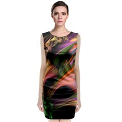 Color Burst Abstract Sleeveless Velvet Midi Dress