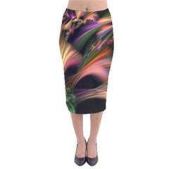 Color Burst Abstract Velvet Midi Pencil Skirt
