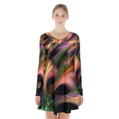 Color Burst Abstract Long Sleeve Velvet V Neck Dress
