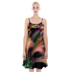 Color Burst Abstract Spaghetti Strap Velvet Dress
