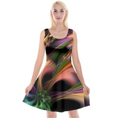 Color Burst Abstract Reversible Velvet Sleeveless Dress