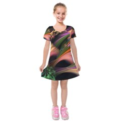 Color Burst Abstract Kids  Short Sleeve Velvet Dress