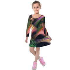 Color Burst Abstract Kids  Long Sleeve Velvet Dress