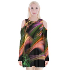 Color Burst Abstract Velvet Long Sleeve Shoulder Cutout Dress