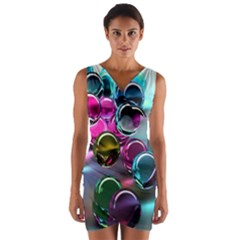 Colorful Balls Of Glass 3d Wrap Front Bodycon Dress