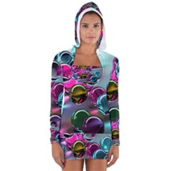 Colorful Balls Of Glass 3d Women s Long Sleeve Hooded T-shirt