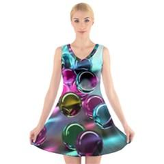 Colorful Balls Of Glass 3d V-Neck Sleeveless Skater Dress