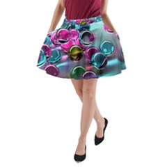 Colorful Balls Of Glass 3d A-Line Pocket Skirt