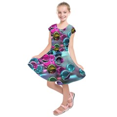 Colorful Balls Of Glass 3d Kids  Short Sleeve Dress