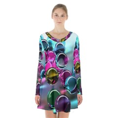 Colorful Balls Of Glass 3d Long Sleeve Velvet V Neck Dress