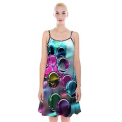 Colorful Balls Of Glass 3d Spaghetti Strap Velvet Dress
