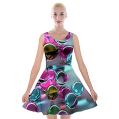 Colorful Balls Of Glass 3d Velvet Skater Dress