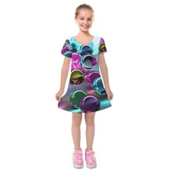 Colorful Balls Of Glass 3d Kids  Short Sleeve Velvet Dress