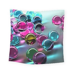 Colorful Balls Of Glass 3d Square Tapestry (Small)