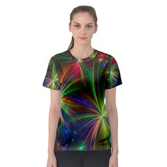 Colorful Firework Celebration Graphics Women s Sport Mesh Tee