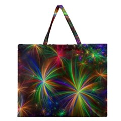 Colorful Firework Celebration Graphics Zipper Large Tote Bag